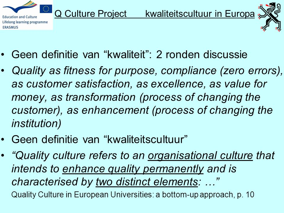 Q Culture Project kwaliteitscultuur in Europa