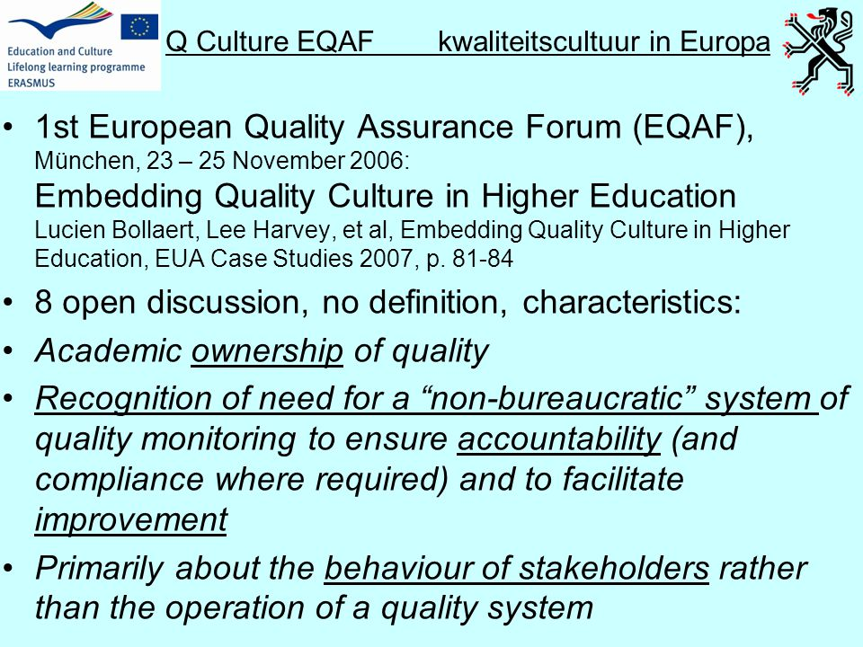 Q Culture EQAF kwaliteitscultuur in Europa