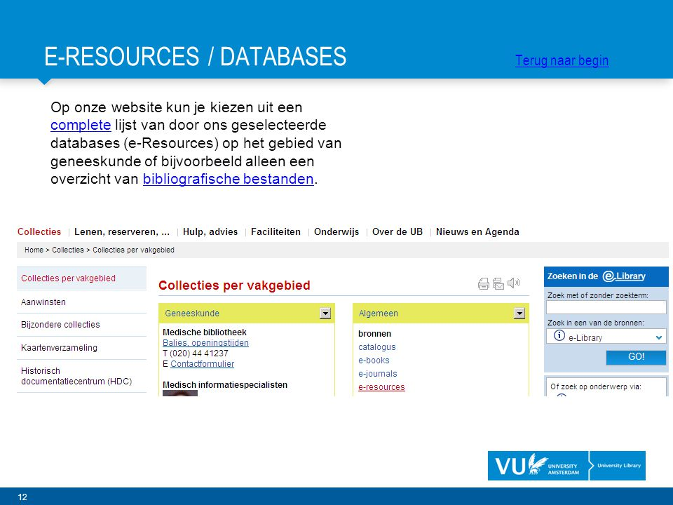 E-RESOURCES / DATABASES Terug naar begin