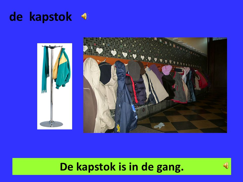 de kapstok De kapstok is in de gang.