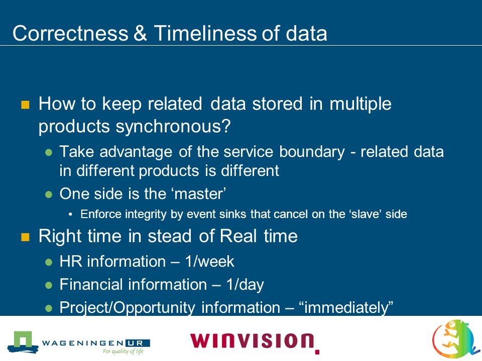 Correctness & Timeliness of data