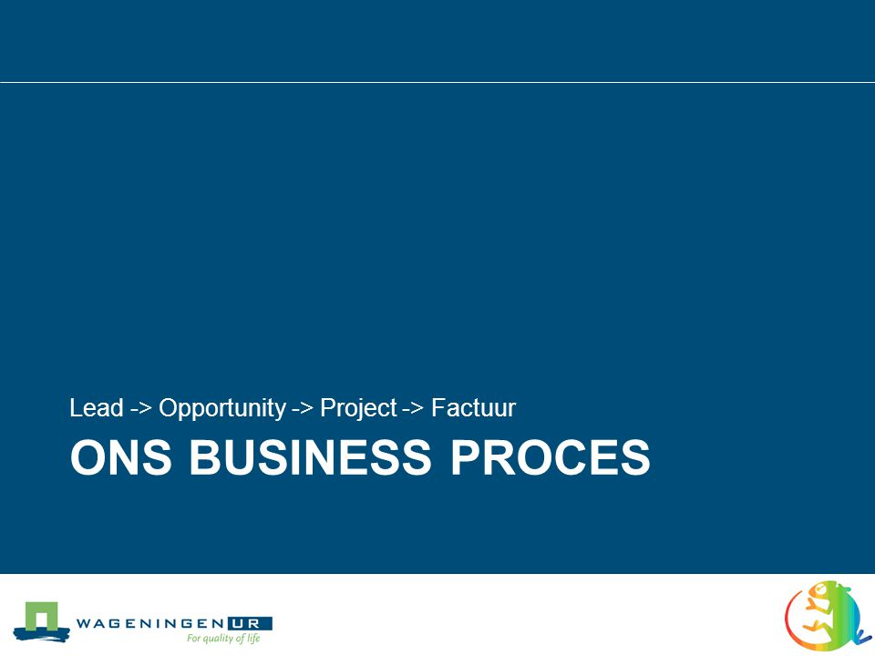 Ons Business proces Lead -> Opportunity -> Project -> Factuur