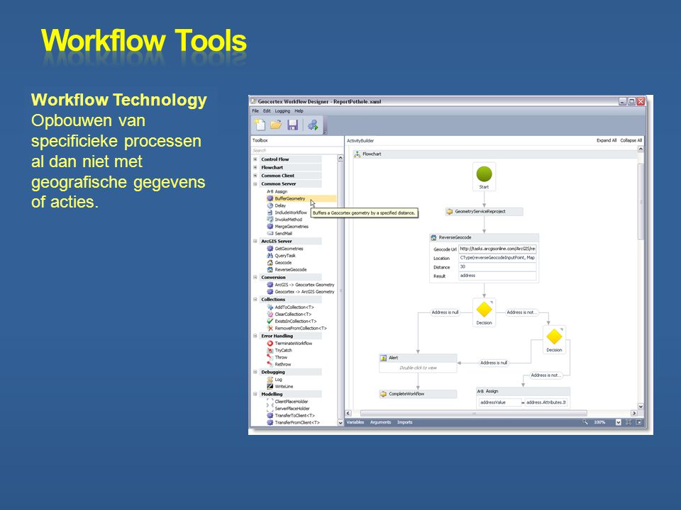 Workflow Tools Workflow Technology Opbouwen van specificieke processen