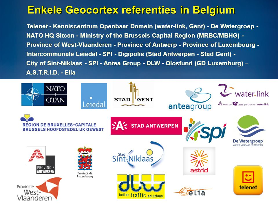Enkele Geocortex referenties in Belgium