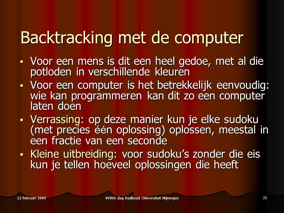 Backtracking met de computer