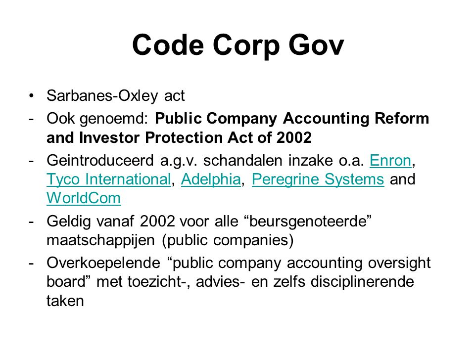 Code Corp Gov Sarbanes-Oxley act