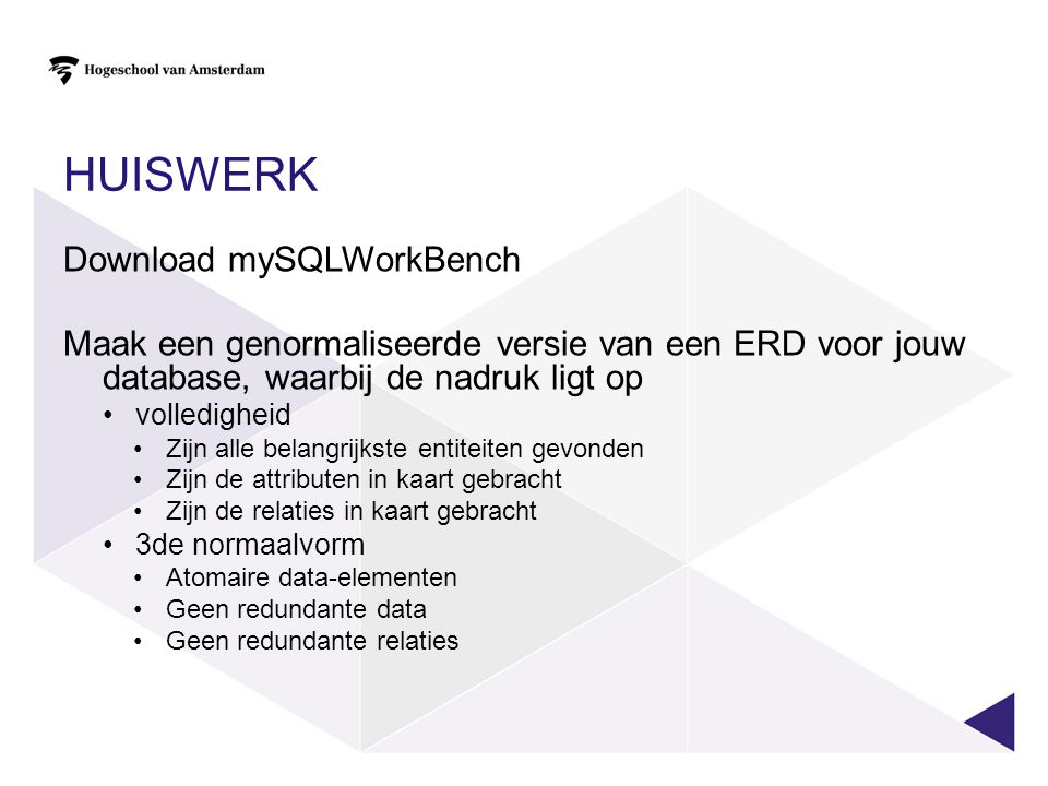 huiswerk Download mySQLWorkBench