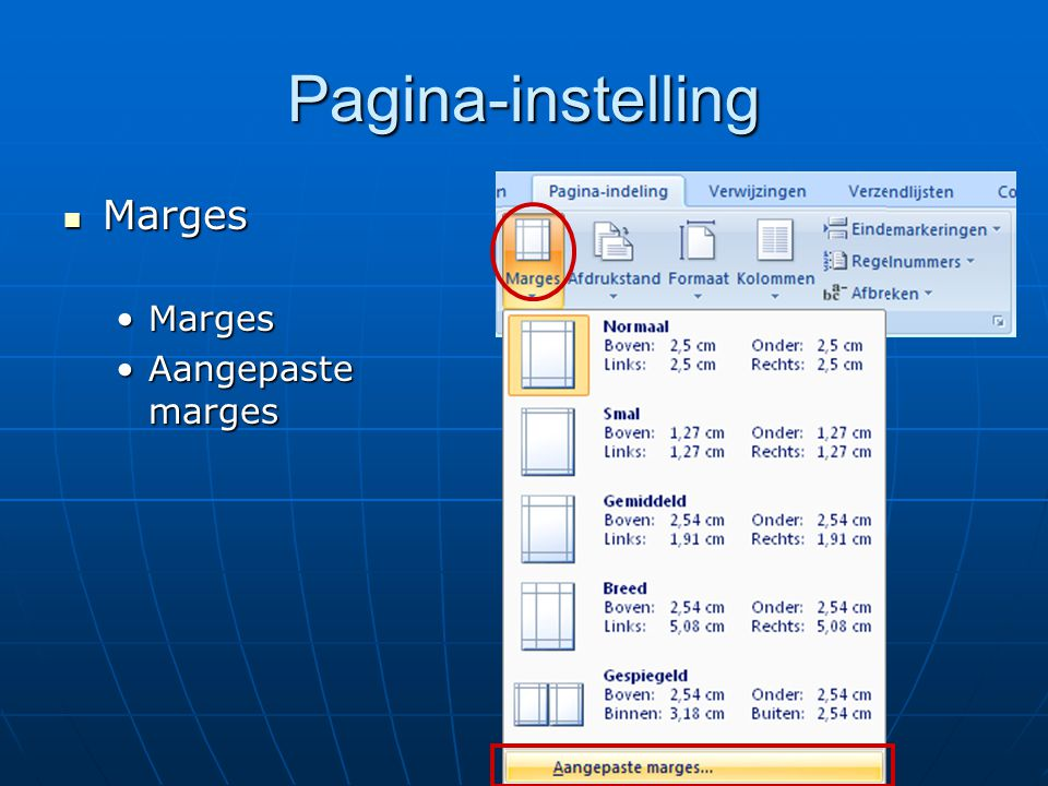 Pagina-instelling Marges Aangepaste marges