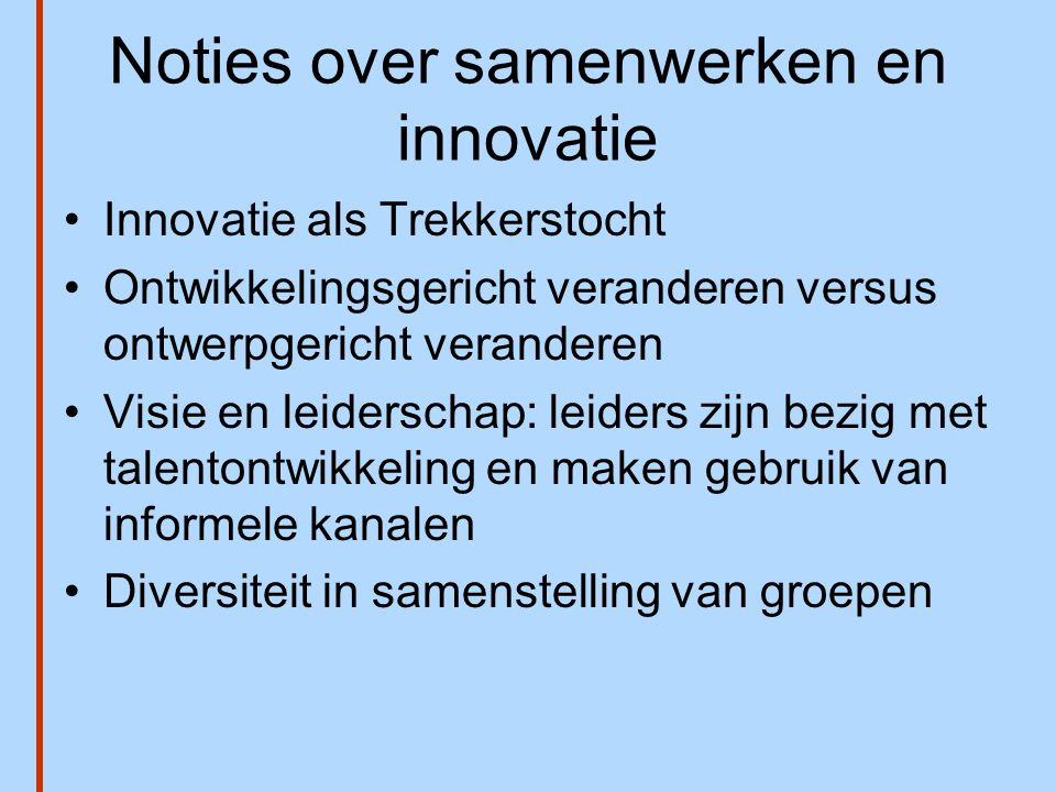 Noties over samenwerken en innovatie