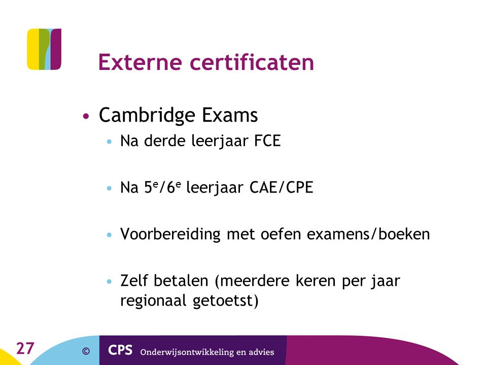 Externe certificaten Cambridge Exams Na derde leerjaar FCE