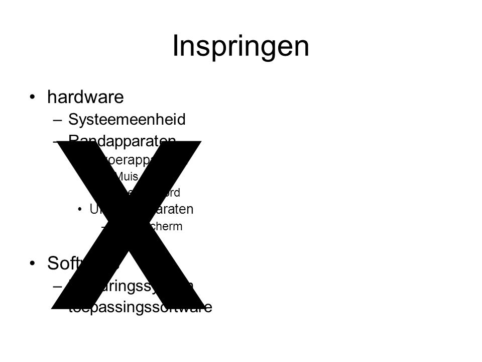 X Inspringen hardware Software Systeemeenheid Randapparaten