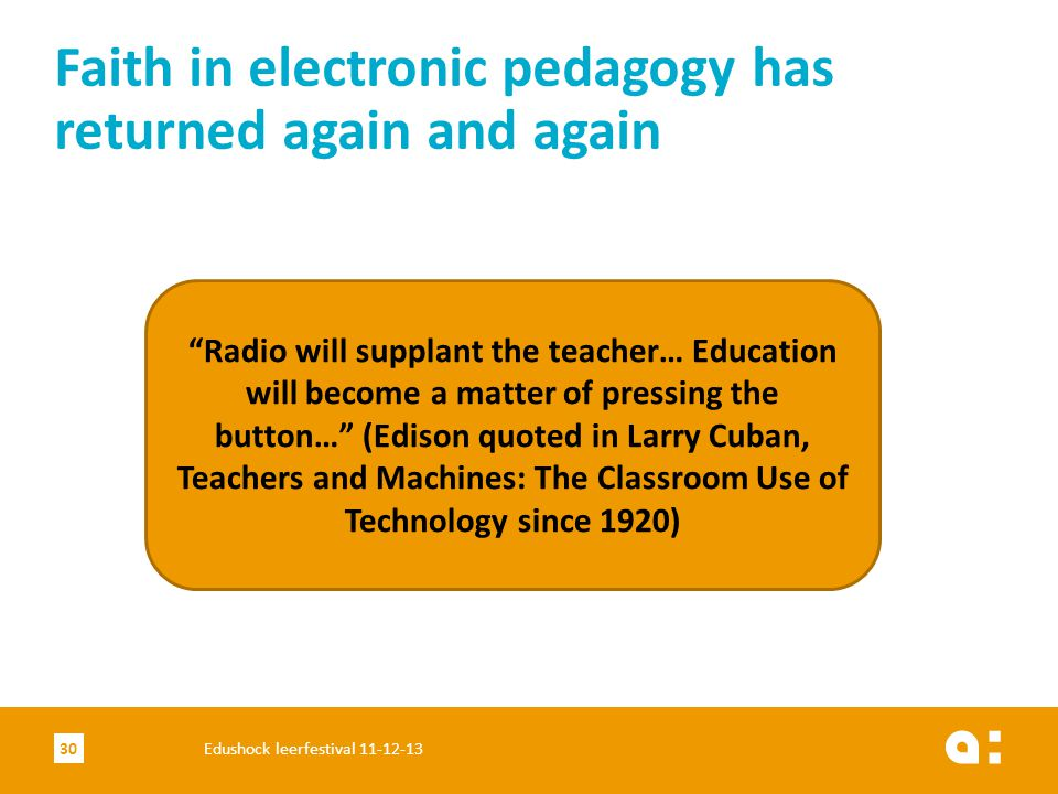 Faith in electronic pedagogy has returned again and again