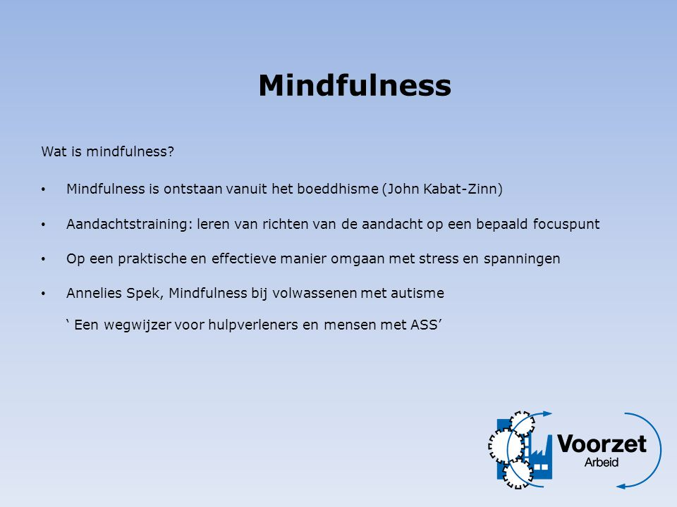 Mindfulness Wat is mindfulness