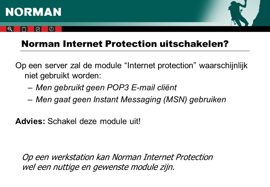Norman Internet Protection uitschakelen