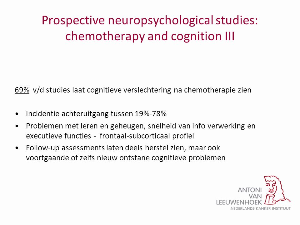 Prospective neuropsychological studies: chemotherapy and cognition III