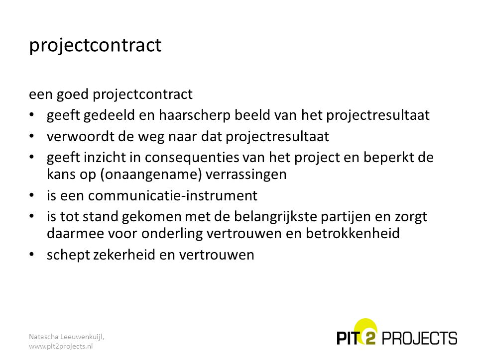 projectcontract een goed projectcontract