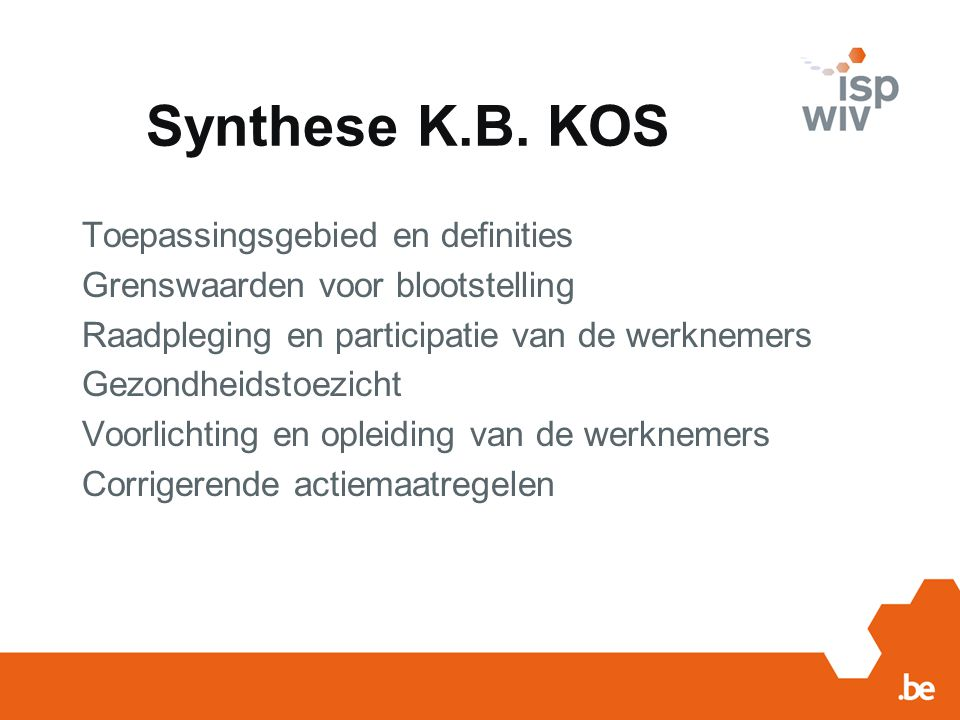 Synthese K.B. KOS Toepassingsgebied en definities