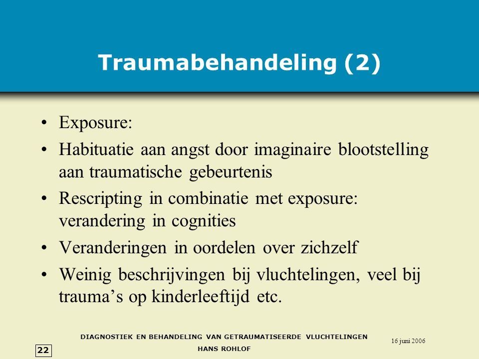 Traumabehandeling (2) Exposure: