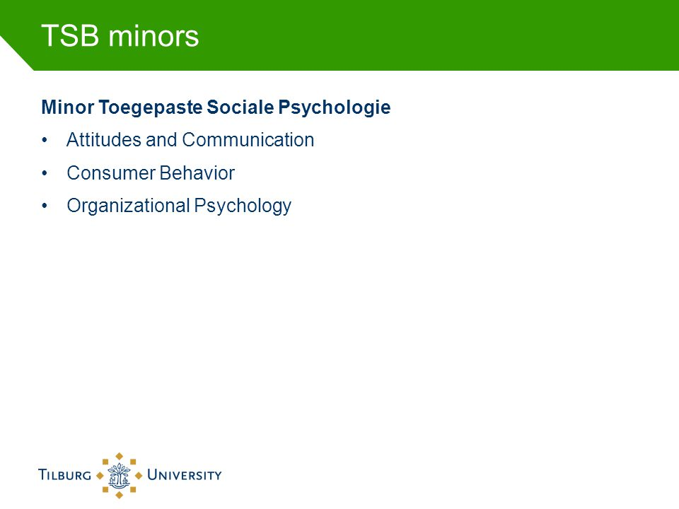 TSB minors Minor Toegepaste Sociale Psychologie