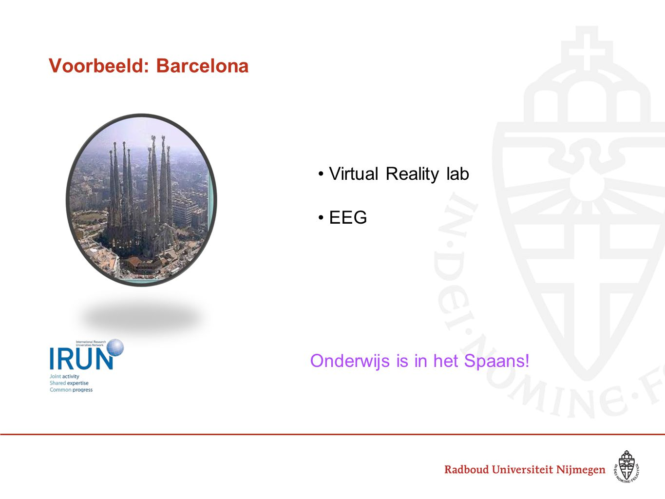 Voorbeeld: Barcelona Virtual Reality lab EEG