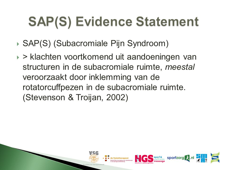 SAP(S) Evidence Statement