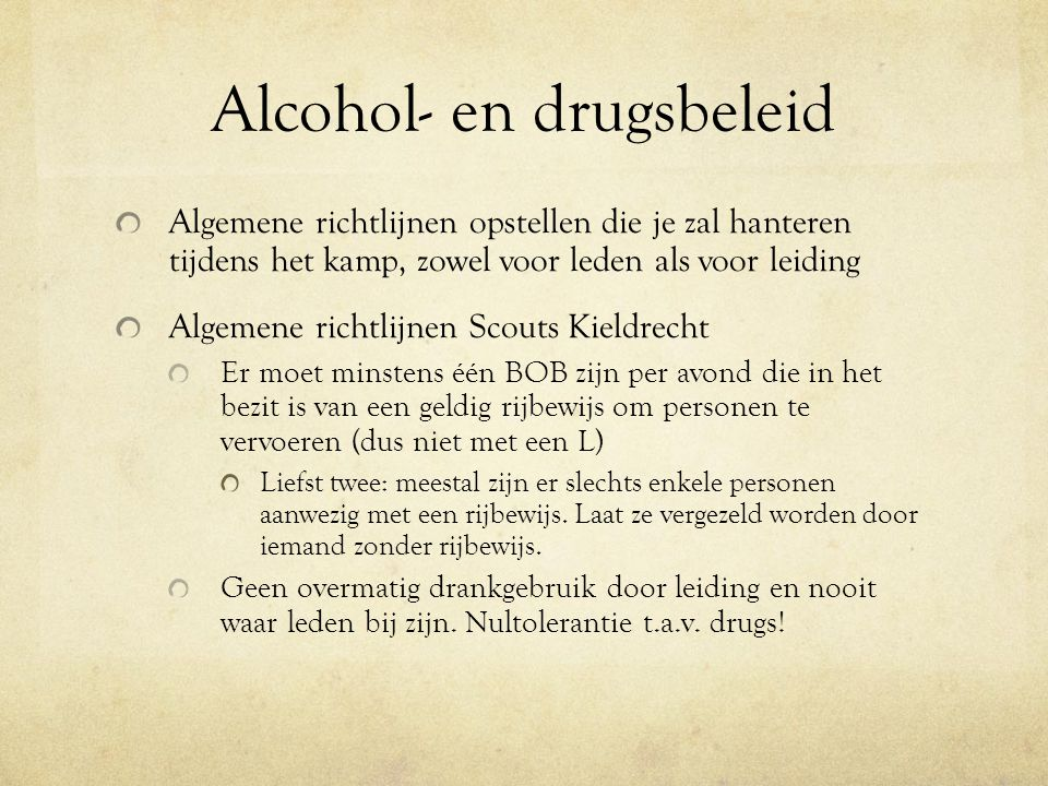 Alcohol- en drugsbeleid