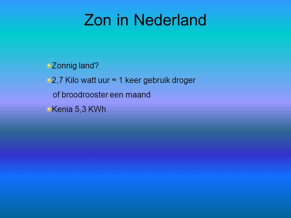 Zon in Nederland Zonnig land