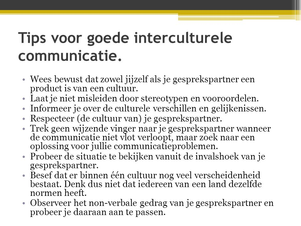 Tips voor goede interculturele communicatie.