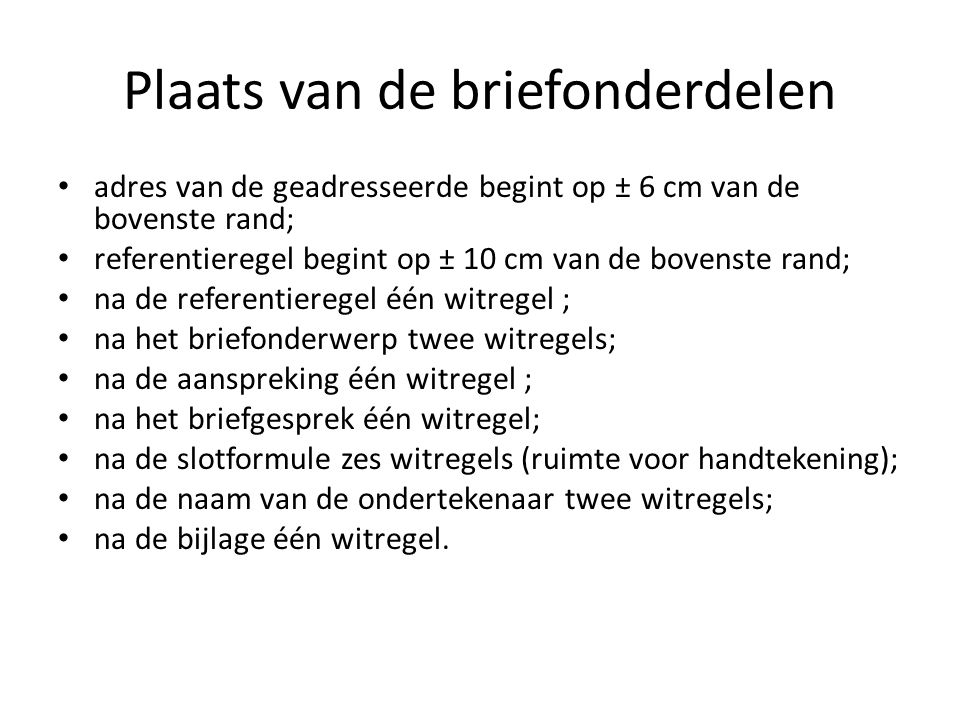 witregels sollicitatiebrief Normen specifiek voor brieven   ppt download witregels sollicitatiebrief