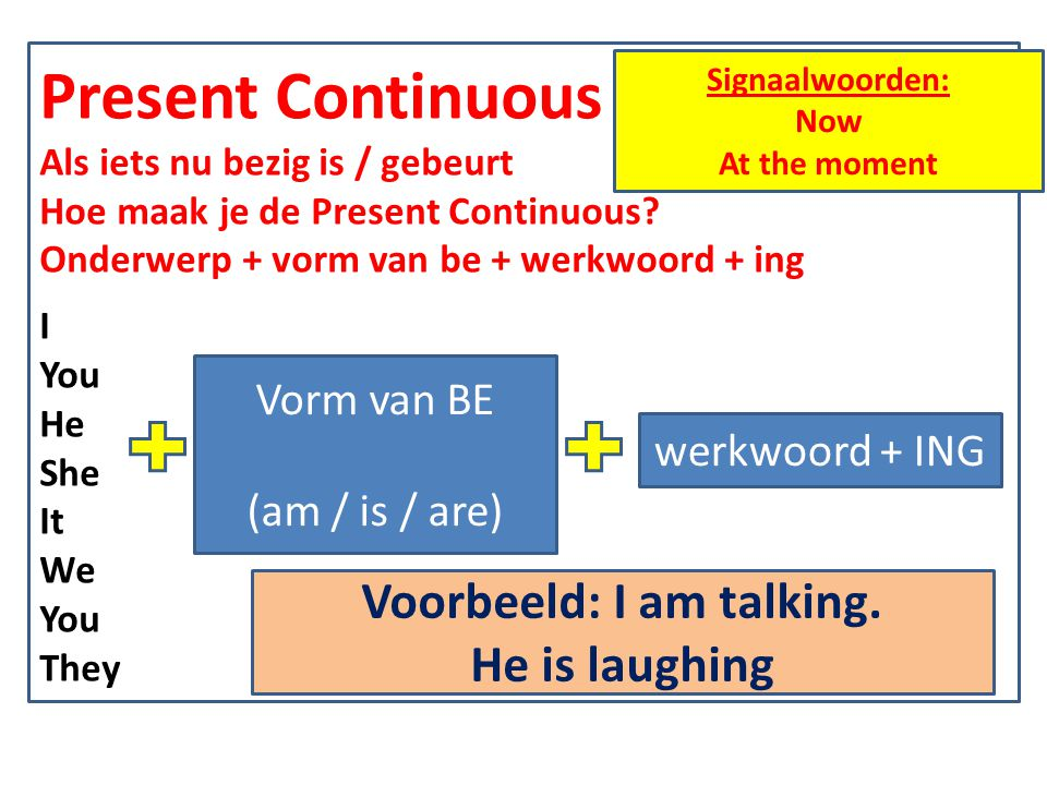 Voorbeeld: I am talking.