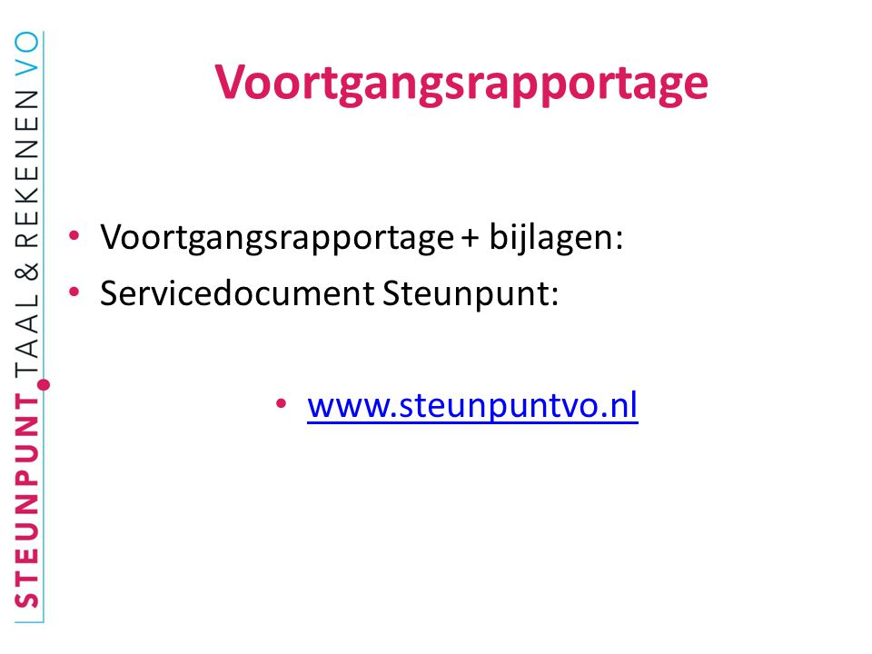 Voortgangsrapportage