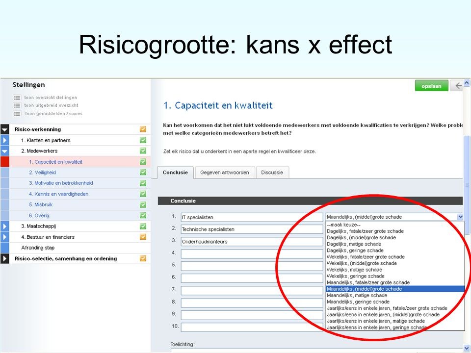 Risicogrootte: kans x effect