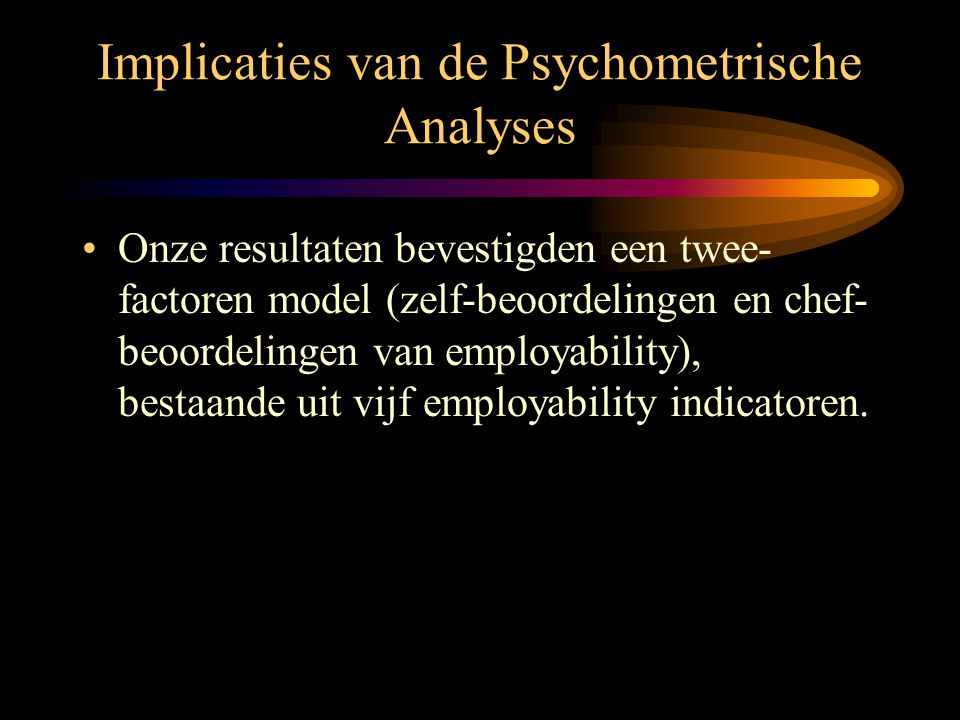 Implicaties van de Psychometrische Analyses