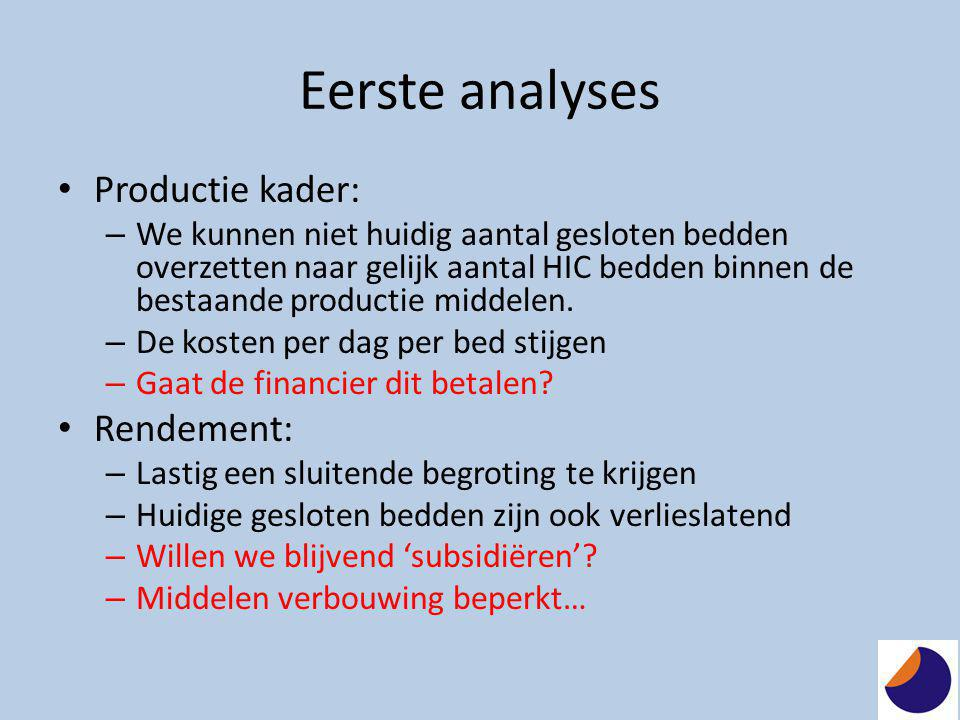 Eerste analyses Productie kader: Rendement: