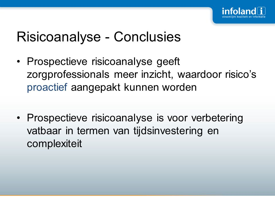 Risicoanalyse - Conclusies