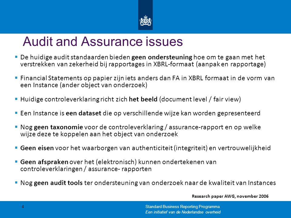 Audit and Assurance issues