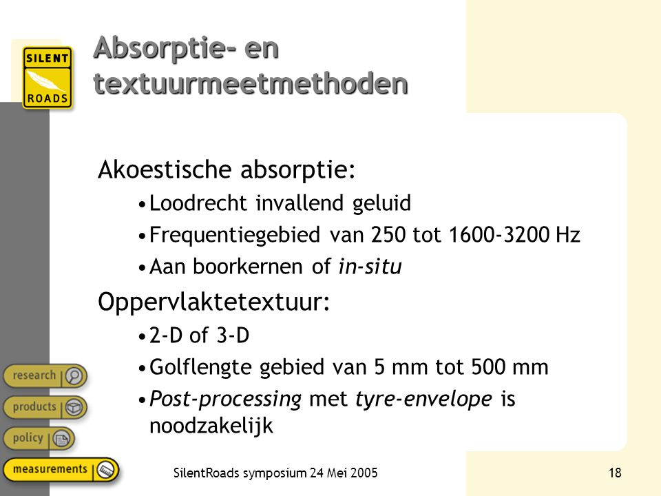 Absorptie- en textuurmeetmethoden