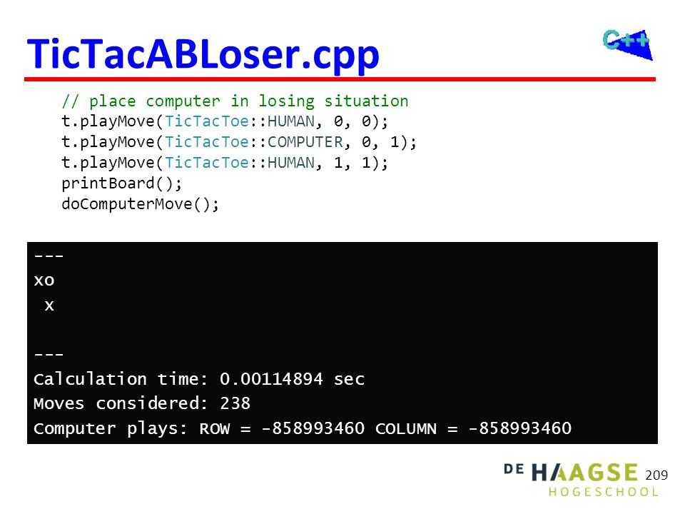 TicTacABLoser.cpp Oplossing: