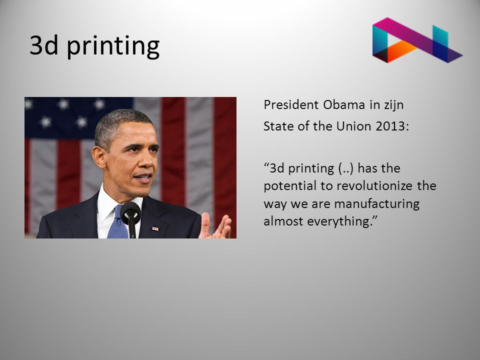 3d printing President Obama in zijn State of the Union 2013: