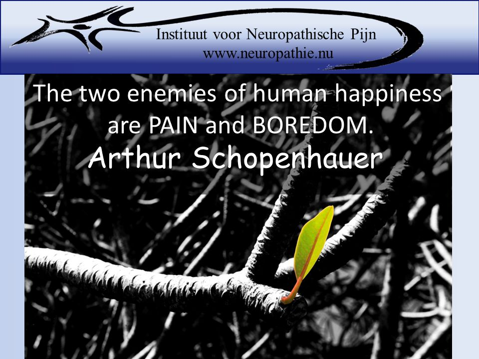 The two enemies of human happiness are PAIN and BOREDOM