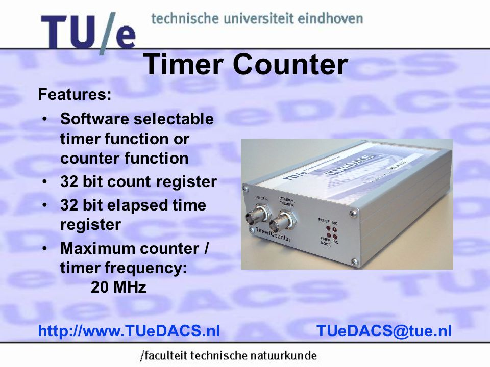 Timer Counter Features: