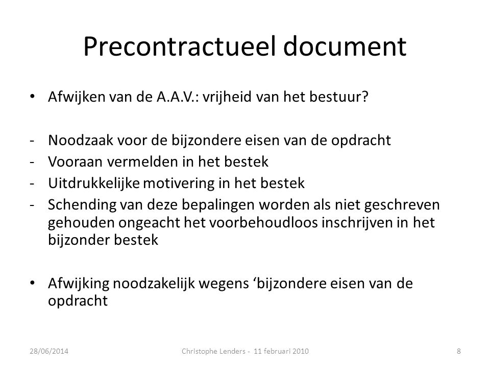 Precontractueel document