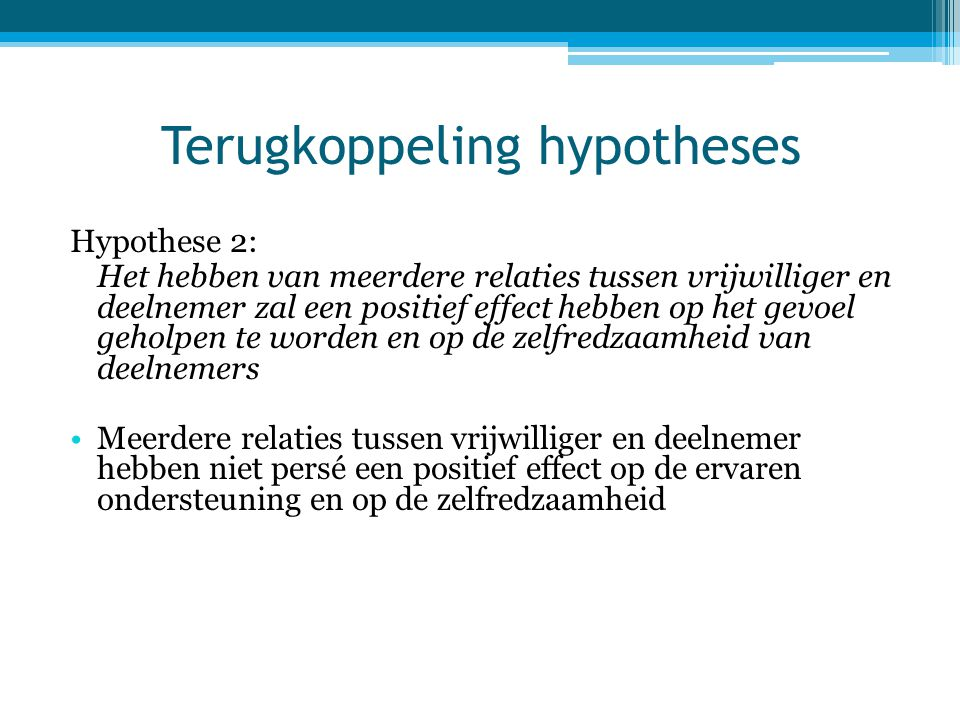Terugkoppeling hypotheses