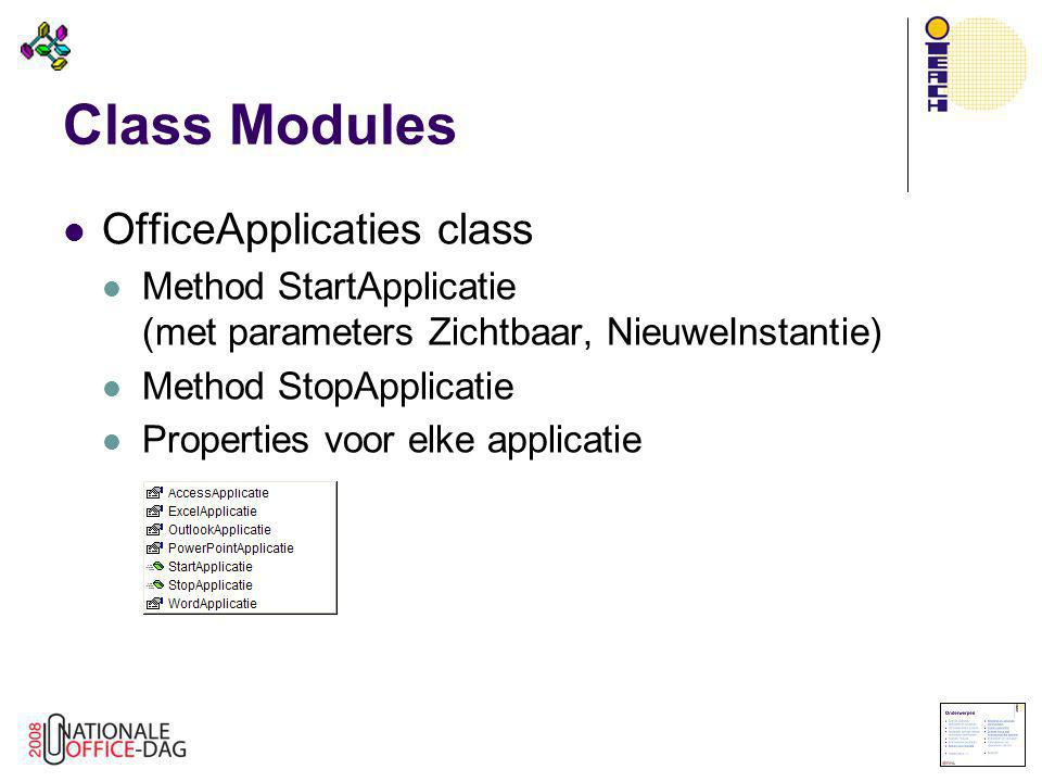 Class Modules OfficeApplicaties class