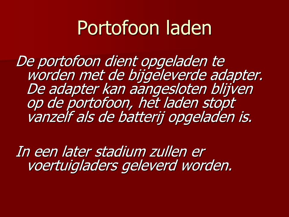 Portofoon laden