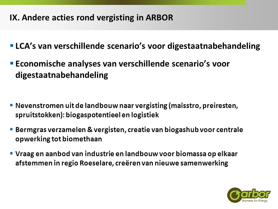 IX. Andere acties rond vergisting in ARBOR