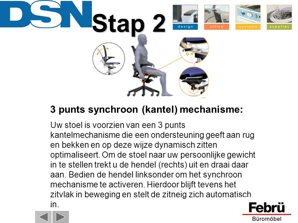 Stap 2 3 punts synchroon (kantel) mechanisme: