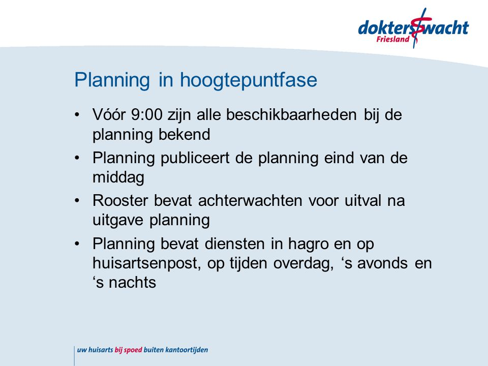Planning in hoogtepuntfase