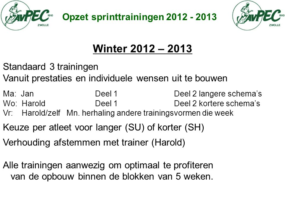 Winter 2012 – 2013 Opzet sprinttrainingen