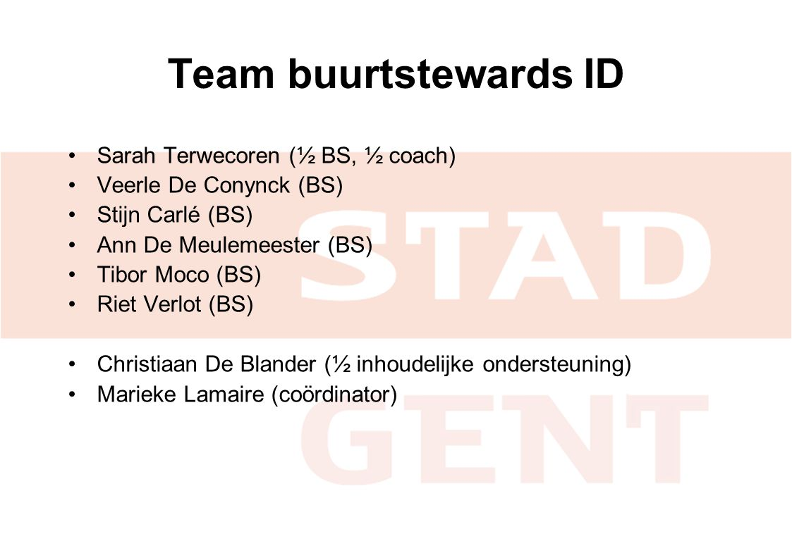 Team buurtstewards ID Sarah Terwecoren (½ BS, ½ coach)